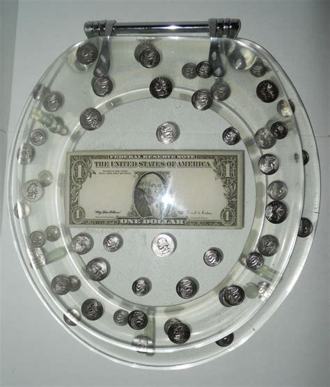 coin filled toilet seat lucite resin toilet seat standard clear us dollar coins