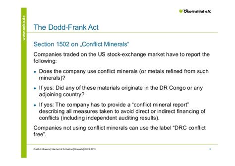 Section 1502 Of The Dodd Frank Act by Conflict Minerals An Evaluation Of The Dodd Frank Act