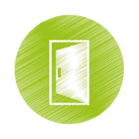 door circle open green door stock illustration