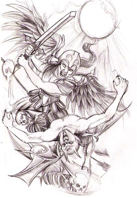 fighting angel tattoo designs vs by srtaquesadilla and demons