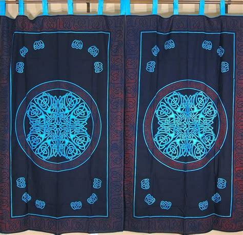 celtic curtains celtic tab top curtains cotton block print fabric indian