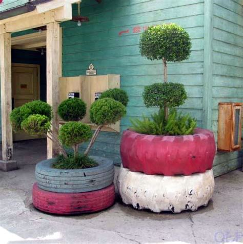 Used Planters by Diy Recycled Tire Garden Planters