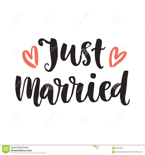 just married card template just married wedding day invitations lettering stock