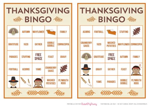 printable turkey bingo 10 favorite free thanksgiving table printables