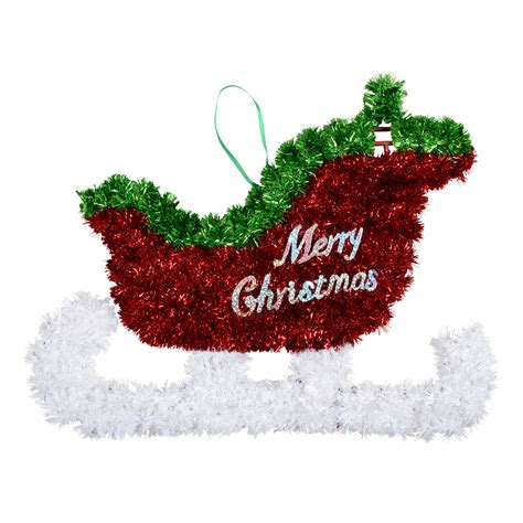 large tinsel christmas wall plaque decoration sledge