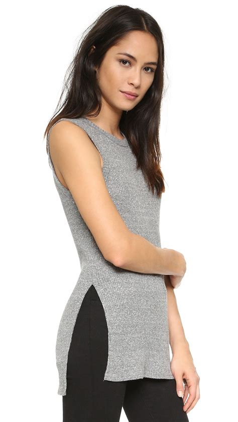 Dress Of The Day Costa Tunic by Enza Costa Ribbed Easy Sleeveless Tunic In Gray Lyst