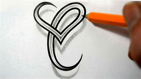 heart letter tattoo designs initial c and combined together celtic weave style