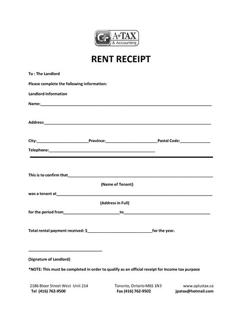 Rent Bill Letter printable payment receipt scope of work template