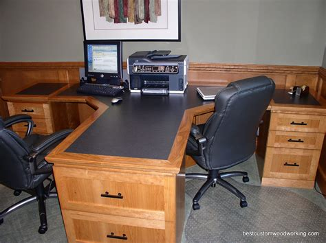 Custom Cherry Partner Desk Two Person Custom Made Two Person Home Office Desk