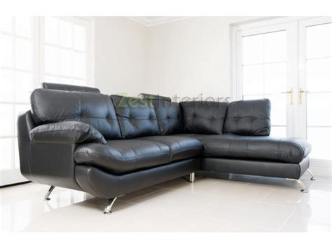 Verona Leather Sofa Verona Black Right Large Corner Faux Leather Sofa