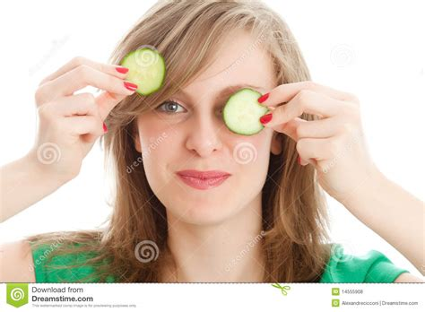girl with cucumber girl with a cucumber royalty free stock photos image