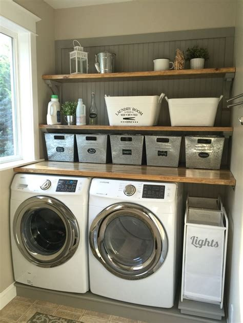 Laundry Room Makeover Wood Counters Walmart Tin Totes Pull Out Laundry