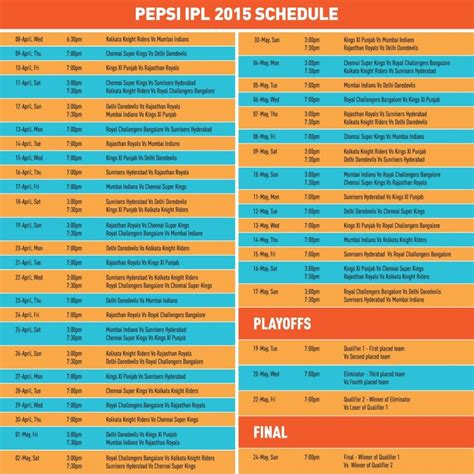 ipl 2015 schedule all match fixtures and complete time table of ipl 8 ipl com newhairstylesformen2014 com