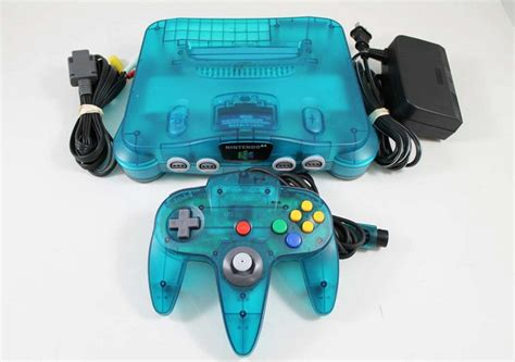 n64 console colors blue nintendo 64 system console used