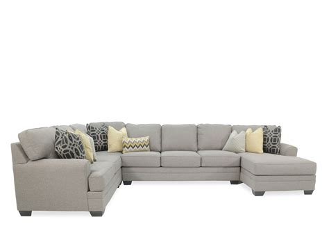 "Four Piece Contemporary 155"" Sectional in Gray   Mathis"