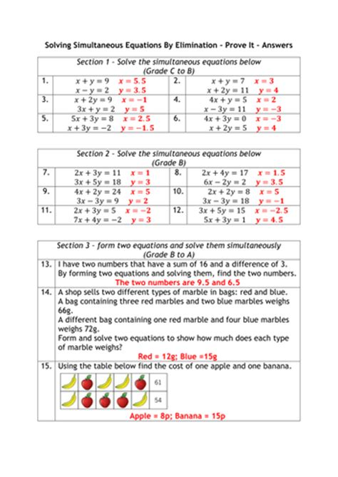 simultaneous equations graded worksheet by alutwyche
