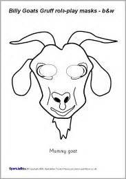 goat mask coloring page billy goats gruff role play masks black and white