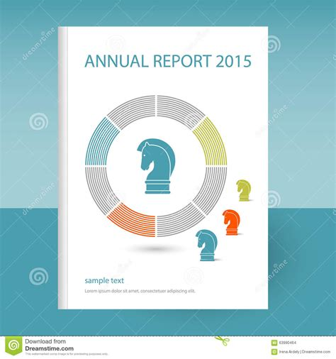 design concept report vector cover of annual report with chess horse strategy