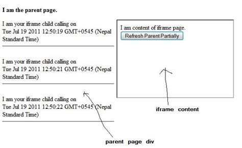 frame design in asp net refresh parent page partially from iframe without