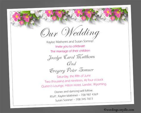 Wedding Invitation Message In