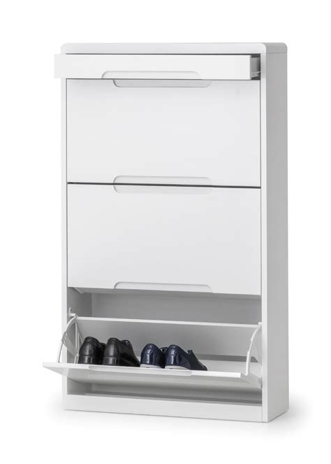 Alzira White High Gloss Shoe Cabinet with Drawers JB317