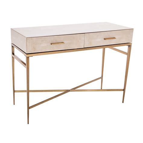 lucile taupe shagreen gold console table shropshire design