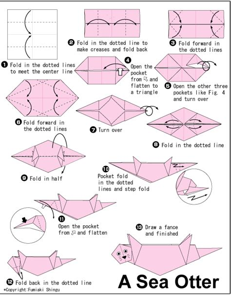 Otter Origami - origami otter crafty