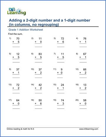 grade 1 math worksheet adding a 2 digit number and a 1