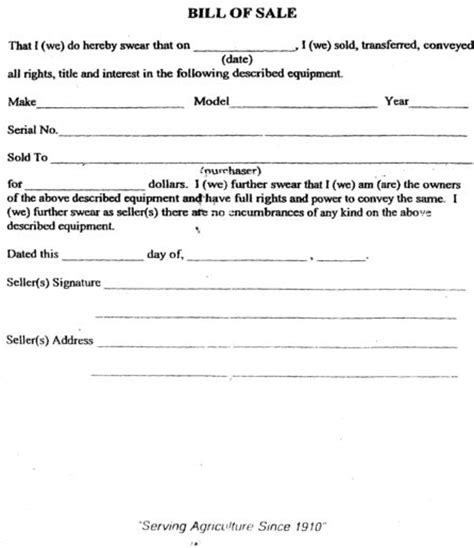 Free Printable Tractor Bill of Sale Form (GENERIC)