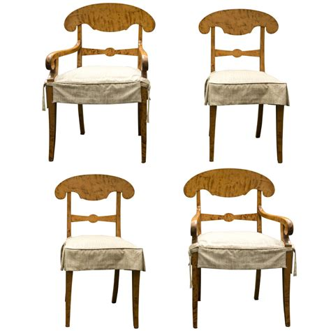 set of four biedermeier tiger maple dining chairs at 1stdibs