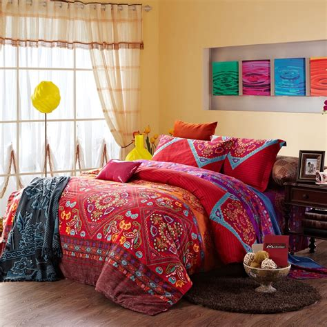 indian style comforter sets chinese red and colorful vintage indian style tribal print