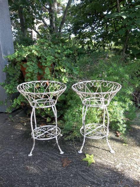 Wrought Iron Garden Decor Vintage Garden Decor Wrought Iron Plant Stands By Misshettie 135 00