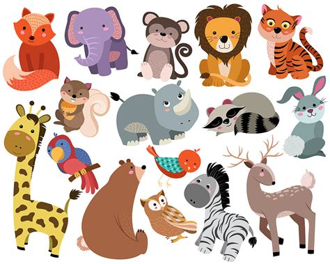 clipart animals animals clip set of 16 300 dpi vector