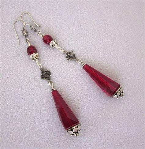katherine handmade earrings red ruby and sterling by lotusstone repurposed art deco earrings ruby red chandelier earrings