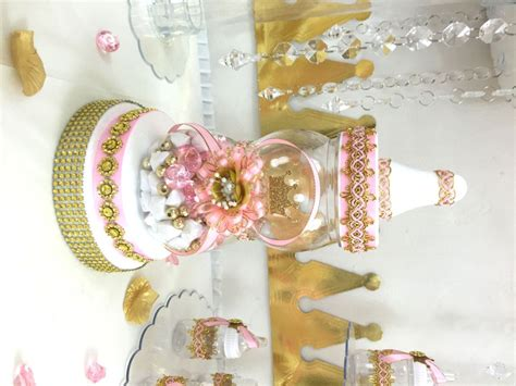pink and gold baby shower centerpiece for princess