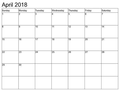 April 2018 Calendar Canada April 2018 Calendar Canada Yearly Printable Calendar