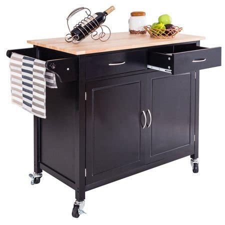 goplus rolling kitchen cart island wood top storage