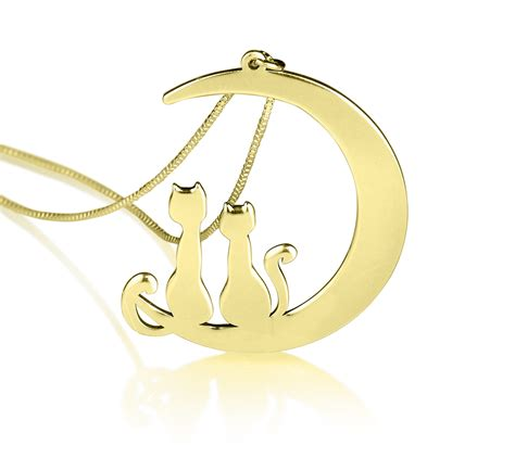 Moon And Cat Necklace moon cats pendant moon necklace cat necklace we design