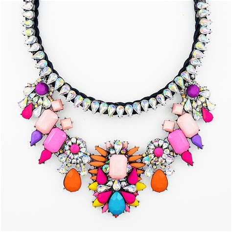 colorful statement necklace color crush collar necklace multi color chunky statement