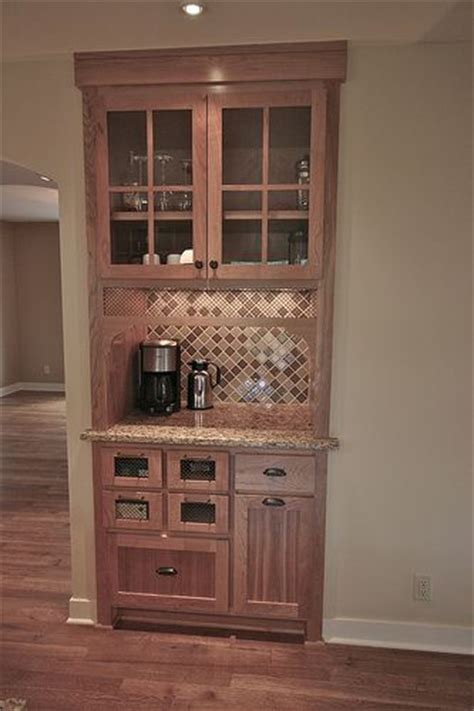 Matching Kitchen Cabinets by Replace Existing Closet With Coffee Station Bar In