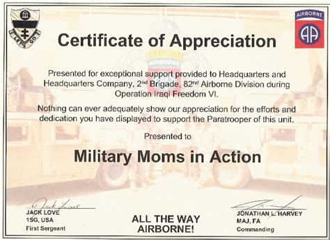 army certificate of appreciation template in our awards