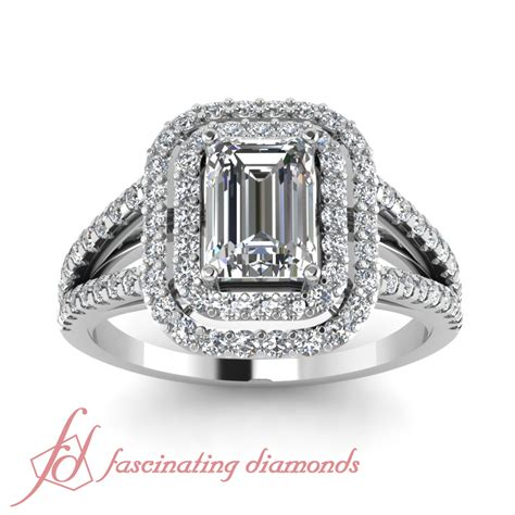 1 70 ct emerald cut halo engagement ring