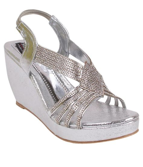 Wedges Bs by 9space Silver Wedges Heels Price In India Buy 9space