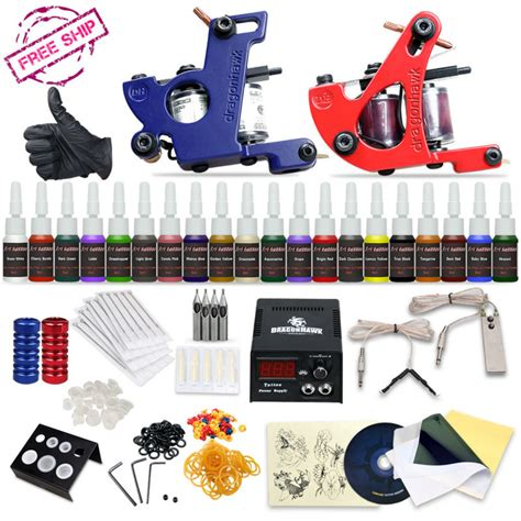 tattoo kit wish professional tattoo kit 2 machine gun 20 color inks power