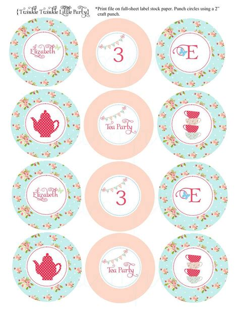 printable party toppers blue floral shabby chic tea party cupcake toppers
