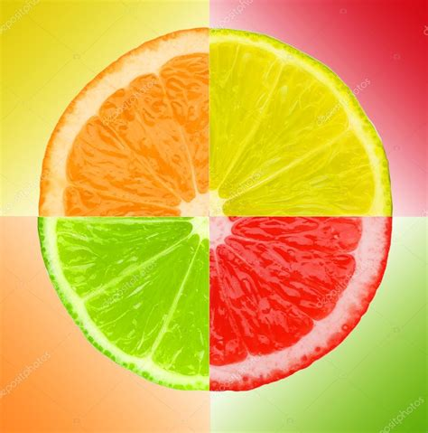 grapefruit color multicolored pieces of lemon orange lime and grapefruit
