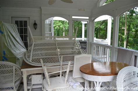 screened in porch freshened up with paint