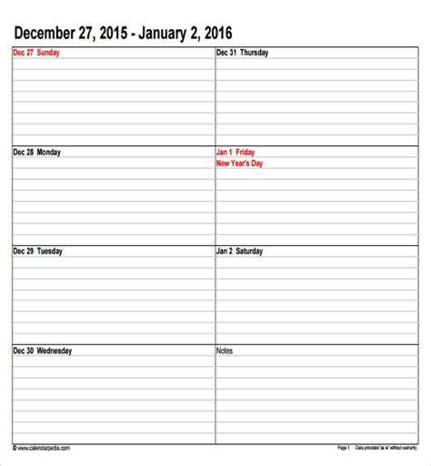 10 Sle Calendar Templates Sles Exles Format Sle Templates Daily Appointment Template