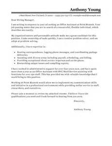 Cover Letter Exles Office Assistant by Office Assistant Cover Letter Exles Administration Livecareer