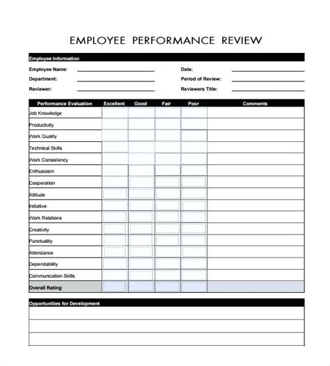 Employee Performance Review Template Magnificent Self Evaluation Form Excel Templates For Performance Review Template Excel